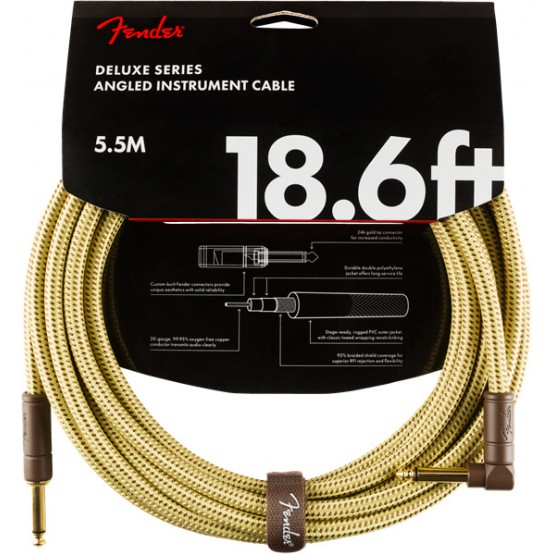 FENDER 0990820082 DELUXE CABLE INSTRUMENTO RECTO ANGULADO 5.5 METROS TWEED