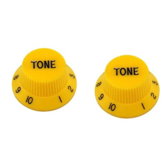 ALL PARTS PK0153020 TONE KNOBS (2) YELLOW FOR STRAT FITS USA SPLIT SHAFT POTS