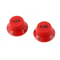 ALL PARTS PK0153026 TONE KNOBS (2) RED FOR STRAT FITS SPLIT SHAFT POTS