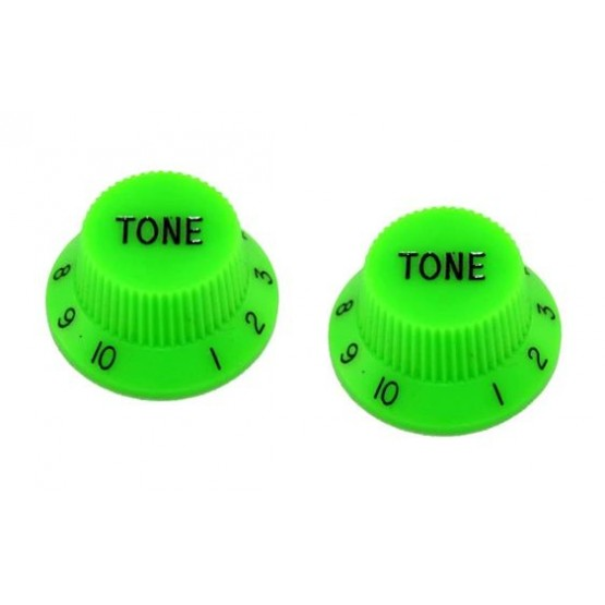 ALL PARTS PK0153029 TONE KNOBS (2) GREEN FOR STRAT FITS SPLIT SHAFT POTS