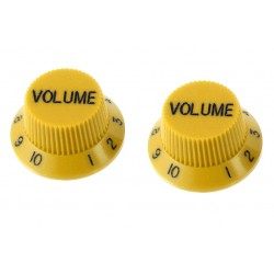 ALL PARTS PK0154020 VOLUME KNOBS (2) YELLOW FOR STRAT FITS SPLIT SHAFT POTS
