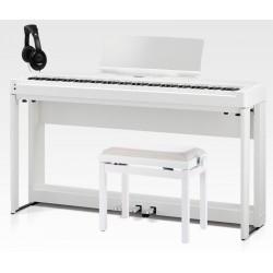 KAWAI -PACK- ES520 WH PIANO DIGITAL BLANCO + SOPORTE + PEDALERA + BANQUETA Y AURICULARES