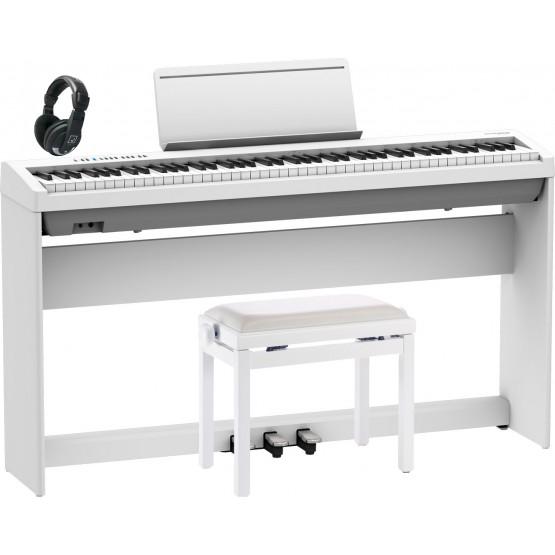 ROLAND -PACK- FP30X WH PIANO DIGITAL + SOPORTE + PEDALERA + BANQUETA Y AURICULARES