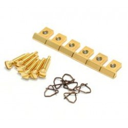 ALL PARTS BP0305002 NASHVILLE TUNEMATIC SADDLES WITH SCREWS AND CLIPS (SET OF 6) GOLD