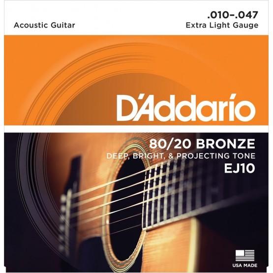 D'ADDARIO EJ10 JUEGO CUERDAS GUITARRA ACUSTICA 010-047