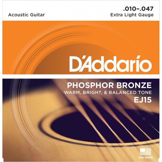 DADDARIO EJ15 JUEGO CUERDAS GUITARRA ACUSTICA 010-047
