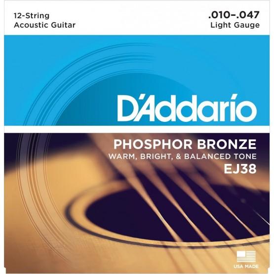 DADDARIO EJ38 JUEGO 12 CUERDAS GUITARRA ACUSTICA 010-027 010-047