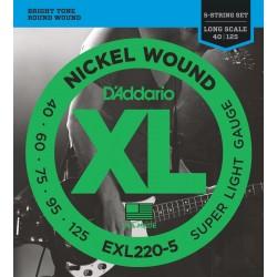 D'ADDARIO EXL2205 JUEGO 5 CUERDAS BAJO 040-125