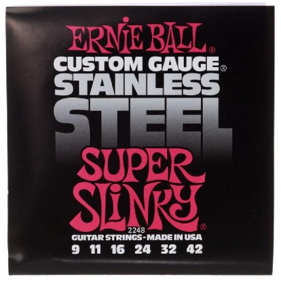 ERNIE BALL 2248 STAINLESS STEEL SUPER SLINKY JUEGO CUERDAS ELECTRICA 009-042