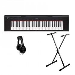 YAMAHA -PACK- NP12B PIANO DIGITAL PIAGGERO NEGRO + SOPORTE TIJERA Y AURICULARES