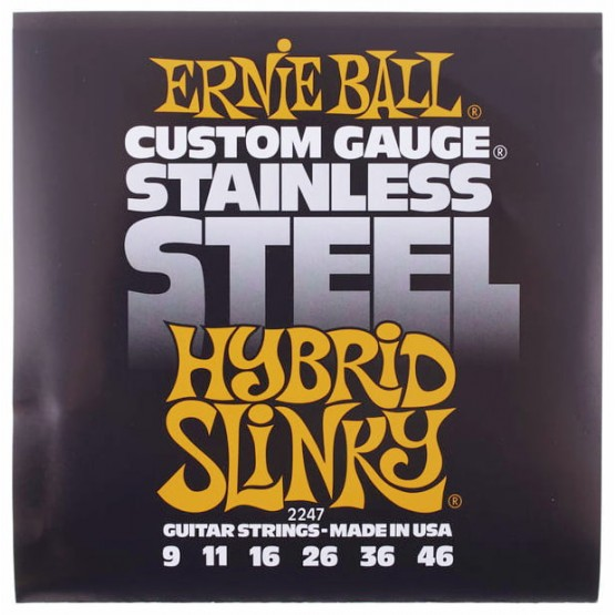 ERNIE BALL 2247 STAINLESS STEEL HYBRIDY SLINKY JUEGO CUERDAS ELECTRICA 009-046