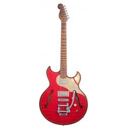 PAOLETTI GUITARS 127 LEATHER HH RMN GUITARRA ELECTRICA RED LEATHER