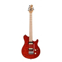 STERLING BY MUSICMAN SUB AX3 TRD M GUITARRA ELECTRICA TRANSPARENT RED.