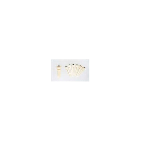 ALL PARTS BP2854081 CAMEL BONE BRIDGE PIN SET (6 PIECES) WITH ABALONE DOTS.