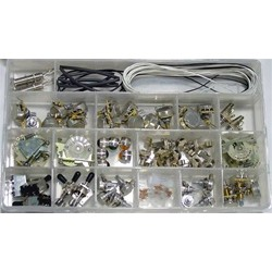 ALL PARTS EPKIT ELECTRONIC ASSORTMENT BOX: POTS SWITCHES WIRE BULBS LENSES.