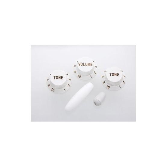 ALL PARTS PK0178025 WHITE KNOB SET FOR STRAT (1-VOL 2-TONES 1-SWITCH KNOB 1-TIP)