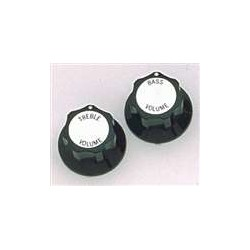 ALL PARTS PK3248023 BLACK TREBLE/BASS VOLUME KNOBS (2) WITH SILVER TOP FOR RICKENBACKER