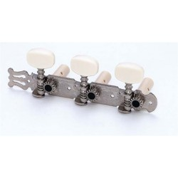 ALL PARTS TK0125001 CLASSICAL TUNING KEYS NICKEL WITH WHITE PLASTIC BUTTONS