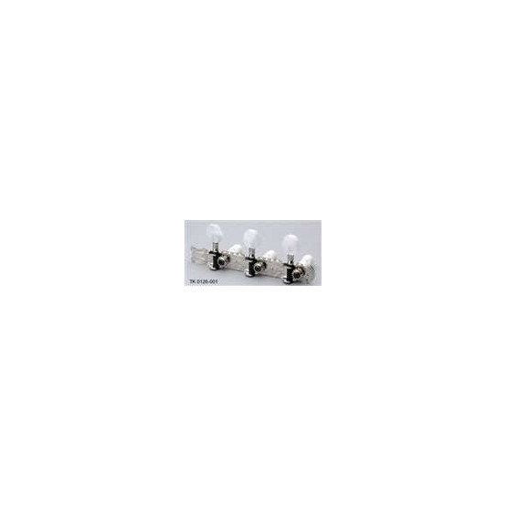 ALL PARTS TK0126001 CLASSICAL TUNING KEYS NICKEL WITH ROUND WHITE PEARLOID BUT