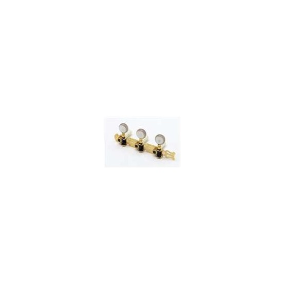 ALL PARTS TK0126002 CLASSICAL TUNING KEYS GOLD WITH ROUND WHITE PEARLOID BUT