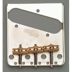 WILKINSON TB5128001 BY GOTOH VINTAGE STYLE, SWIVEL SADDLES, STEEL BRIDGE FOR TELE NICKEL, 2-1/8