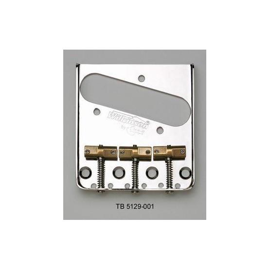 WILKINSON TB5129001 VINTAGE STYLE STEEL BRIDGE FOR TELE, STAGGERED SADDLES, NICKEL, 2-1/8 SPACING