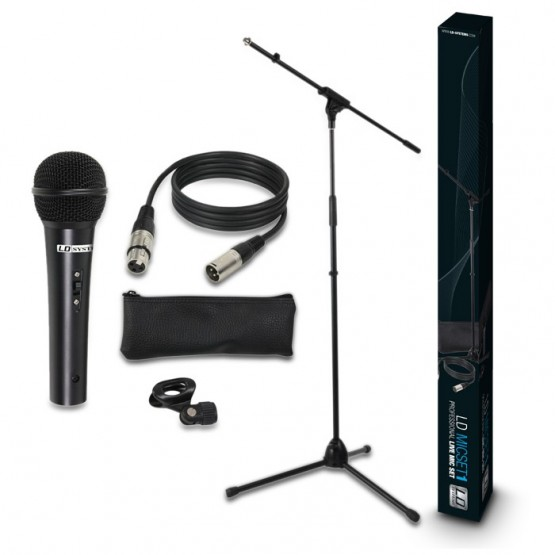 LD SYSTEMS MIC SET1 PACK MICROFONO+SOPORTE+CABLE+FUNDA+PINZA