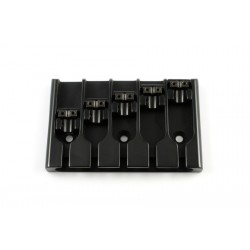 ABM BB3430003 5-STRING BRIDGE, LOCK-DOWN SADDLES, BLACK, ADJUSTABLE SPACING 2-9/16 TO 2-15/16