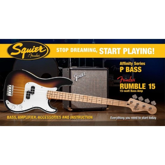 SQUIER STOP DREAMING START PLAYING SET AFFINITY PRECISION BASS BS Y AMPLIFICADOR.