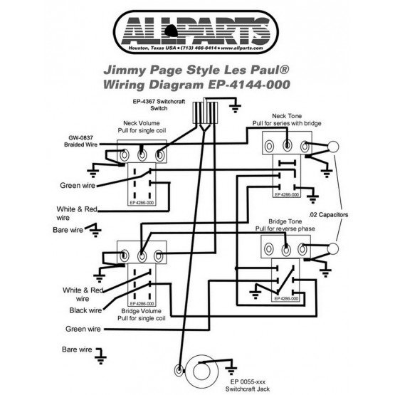 ALL PARTS EP4144000 WIRING KIT FOR GIBSON JIMMY PAGE LES PAUL
