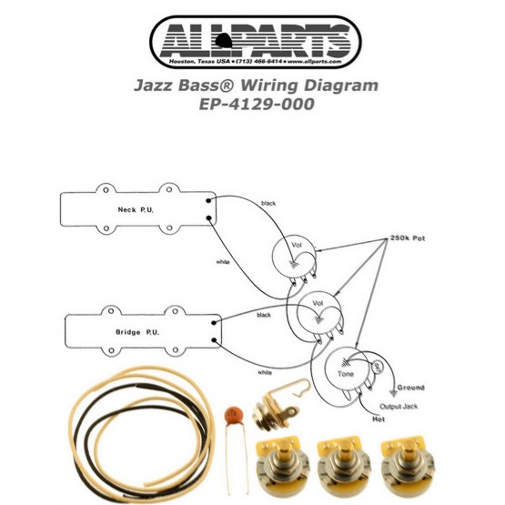 ALL PARTS EP4129000 JAZZ BASS WIRING KIT