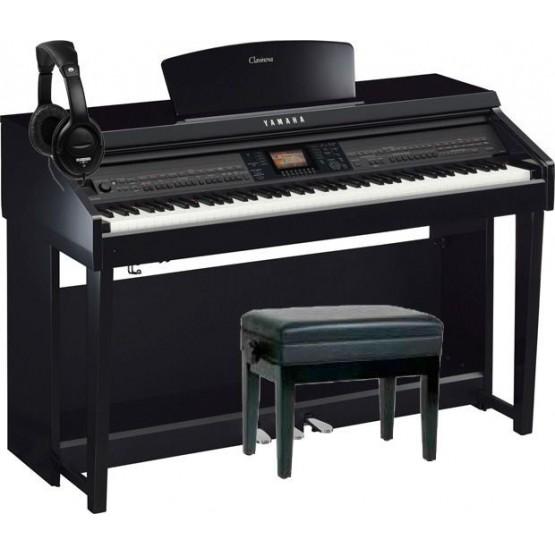 YAMAHA -PACK- CVP701 PE PIANO DIGITAL NEGRO PULIDO + BANQUETA Y AURICULARES