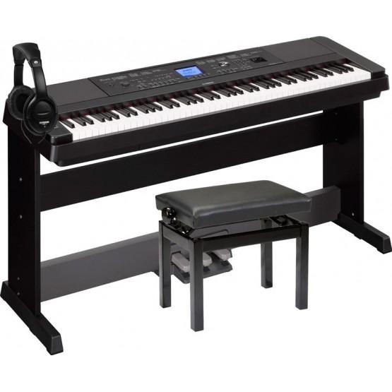 YAMAHA -PACK- DGX660 B PIANO DIGITAL + PEDALERA + BANQUETA Y AURICULARES