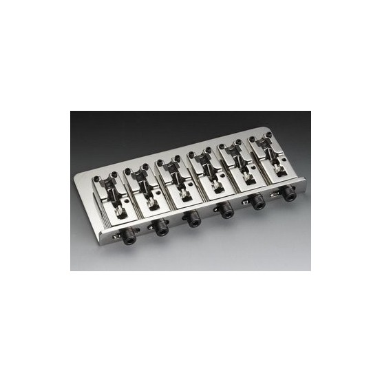 SCHALLER BB3555010 6-STRING BASS BRIDGE STEEL CHROME WITH ADJUSTABLE SPACING 3-1/16 TO 3-7/8
