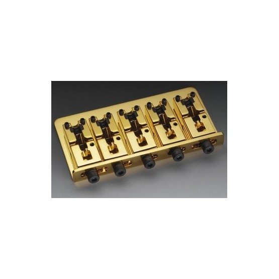 SCHALLER BB3535002 5-STRING BASS BRIDGE STEEL GOLD WITH ADJUSTABLE SPACING 2-7/16 TO 3-3/16