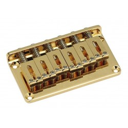 GOTOH SB5115002 NON-TREMOLO BRIDGE, WITH STEEL SADDLES, GOLD, WITH SCREWS, 2-1/16 SPACING