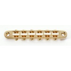 GOTOH GB2542002 NARROW TUNEMATIC, GOLD, PLASTIC SADDLES, 2-1/16 STRING, 2-29/32 POST SPACING