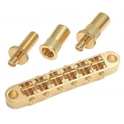 GOTOH GB0525002 TUNEMATIC, LARGE MOUNTING HOLES, GOLD, 2-1/16 STRING SPACING, 2-29/32 POST SPACING