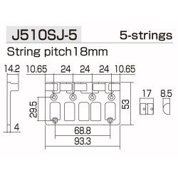 GOTOH BB3465003 J510SJ-5 QUICK RELEASE 5-STRING BASS BRIDGE, BLACK, W/SCREWS, 2-3/4 STRING SPACING