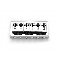 ABM SB0516010 NON-TREMOLO BRIDGE FOR STRAT, WITH FERRULES AND ROLLER SADDLES, CHROME, 2-1/8