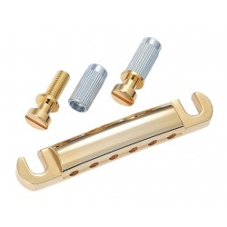 ALL PARTS TP0400002 STOP TAILPIECE, WITH USA THREAD STUDS & ANCHORS, GOLD, 3-1/4 STUD SPACING