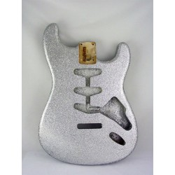 ALL PARTS SBFSS REPLACEMENT BODY FOR STRAT, TREMOLO ROUTING, WITH SILVER SPARKLE FINISH