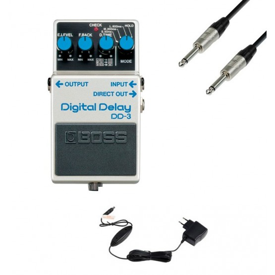 BOSS -PACK- DD3 PEDAL DELAY CON ALIMENTADOR BOSS PSA230S Y CABLE 3 METROS