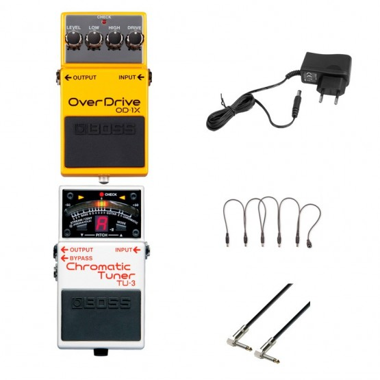 BOSS -PACK- OD1X PEDAL OVERDRIVE + BOSS TU3 AFINADOR + ALIMENTADOR Y CABLES