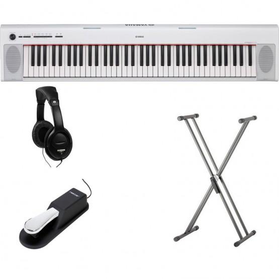 YAMAHA -PACK- NP32WH PIANO DIGITAL PIAGGERO BLANCO + SOPORTE TIJERA + PEDAL SUSTAIN Y AURICULARES