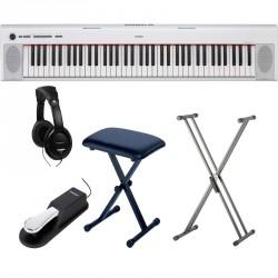 YAMAHA -PACK- NP32WH PIANO DIGITAL BLANCO + SOPORTE TIJERA + BANQUETA + PEDAL SUSTAIN Y AURICULARES