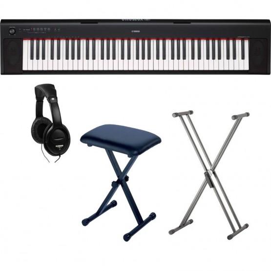 YAMAHA -PACK- NP32 PIANO DIGITAL PIAGGERO + SOPORTE TIJERA + BANQUETA Y AURICULARES
