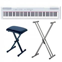 YAMAHA -PACK- P115WH PIANO DIGITAL BLANCO + SOPORTE TIJERA Y BANQUETA