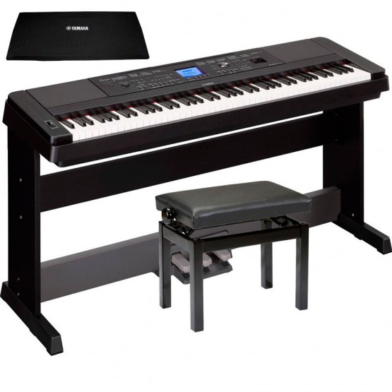 YAMAHA -PACK- DGX660 B PIANO DIGITAL + PEDALERA + BANQUETA Y CUBRETECLADO