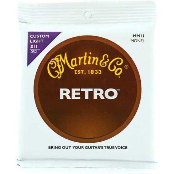 MARTIN RETRO MONEL JUEGO CUERDAS GUITARRA ACUSTICA 11 52 CUSTOM LIGHT